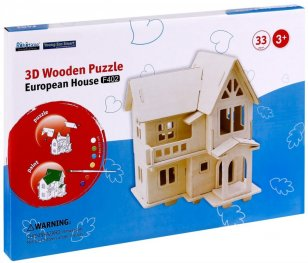 3D Wooden Puzzle - European House F402